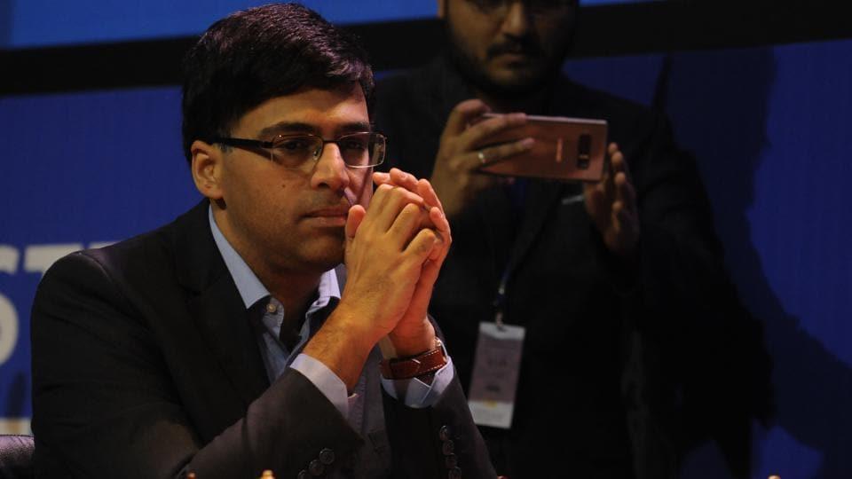 Grand Master Viswanathan Anand (L) at TATA Steel Chess India 2018 Tournament at ICCR auditorium in Kolkata, India.