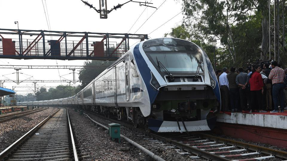 Train 18: India's first engineless train seen at Safdarjung station, during its trial run in New Delhi. Driven by a self-propulsion module sans a separate locomotive, the train, capable of running at a speed of up to 160 kmph, comes with technical features for enhanced quick acceleration. It is also regarded as a successor to the 30-year-old Shatabdi Express. (Mohd Zakir / HT Photo)