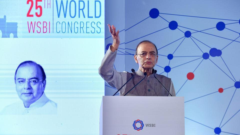 Union Finance Minister, Arun Jaitley, speaks during the 25th World Congress-'Sustainable Retail Banking: Making Globalisation Inclusive for All', in New Delhi. (Manvender Vashist / PTI)