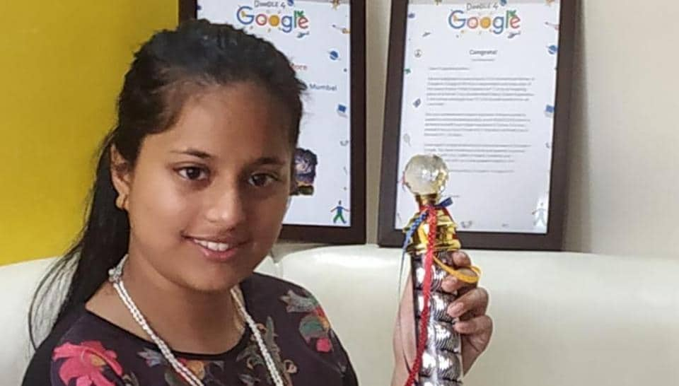 Thirteen-year old Pingla Rahul More has won a national award as part of the Doodle 4 Google contest.