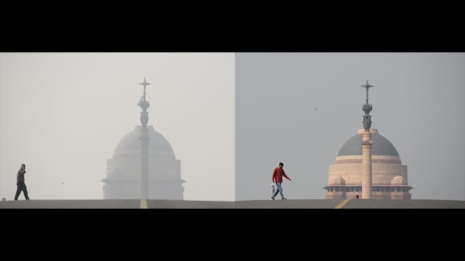 A diptych shows smog engulfed Rashtrapati Bhawan on November 13(L), and November 15 (R), in New Delhi. According to the System of Air Quality and Weather Forecasting and Research (SAFAR), the overall Air Quality Index (AQI) of New Delhi recorded at 342 at around 9.09am as compared to 419 on the previous day, improving the air quality slightly after light rain in past 24-hours. (Burhaan Kinu / HT Photo)
