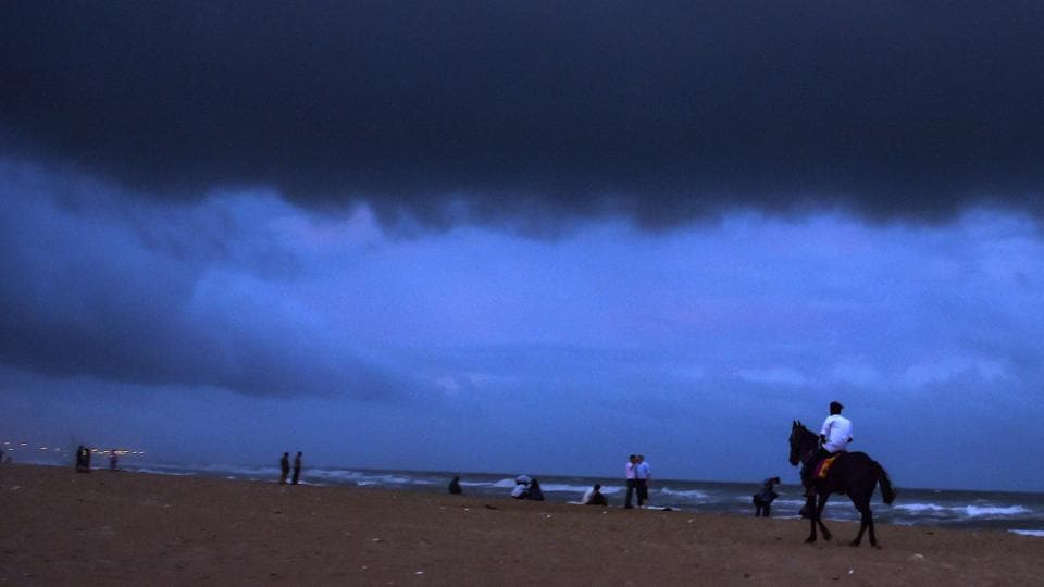 Chennai: Dark clouds hover over Marina beach before the arrival of cyclone 'Gaja', in Chennai, on Thursday, Nov. 15, 2018. Cyclone 'Gaja' intensified into a severe cyclonic storm and is expected to cross the south Tamil Nadu coast by late this evening or night, with the government machinery put on high alert in vulnerable districts.