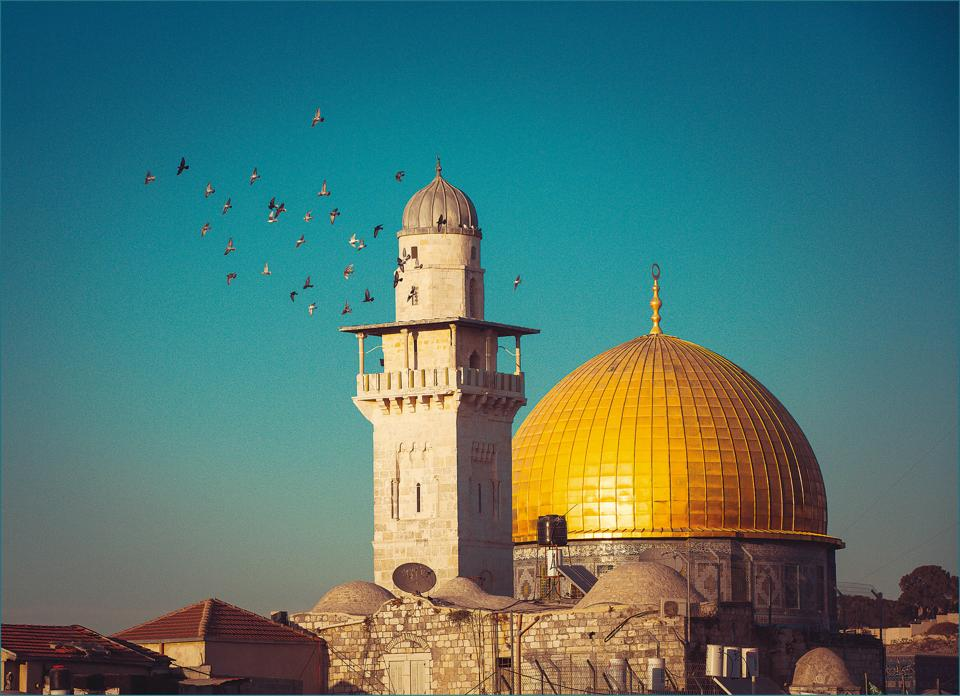 Beyond the Wailing Wall are the premises of the Dome of the Rock