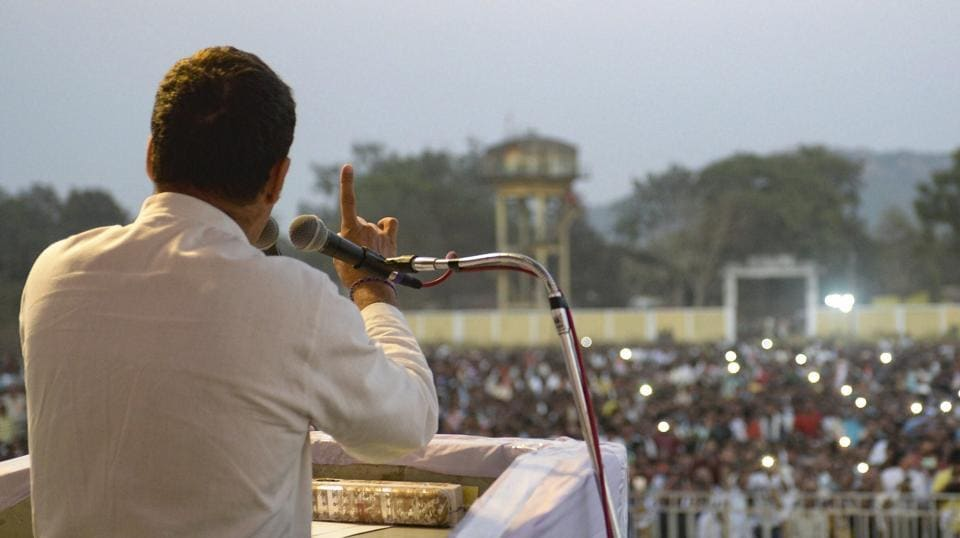 "Congress president Rahul Gandhi on Friday while addressing a campaign rally for the November 28 Madhya Pradesh assembly polls termed demonetisation as the biggest scam in the history of independent India, adding it would be proved that PM Narendra Modi had ""robbed the poor of their hard-earned money and given it away to a few rich"". (PTI File)"
