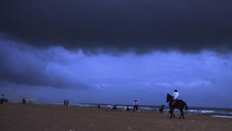 Dark clouds hover over Marina beach before the arrival of cyclone 'Gaja', in Chennai, Tamil Nadu. (R Senthil Kumar / PTI)