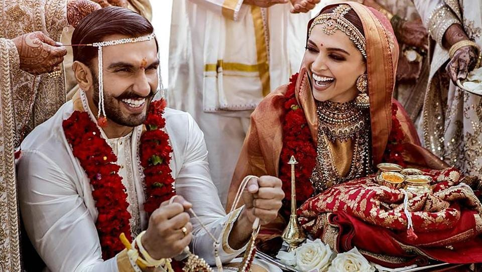 Bollywood actors Deepika Padukone and Ranveer Singh, who got married on November 14-15 in traditional Konkani and Sindhi ceremonies, at a resort overlooking Lake Como in Northern Italy. (PTI)