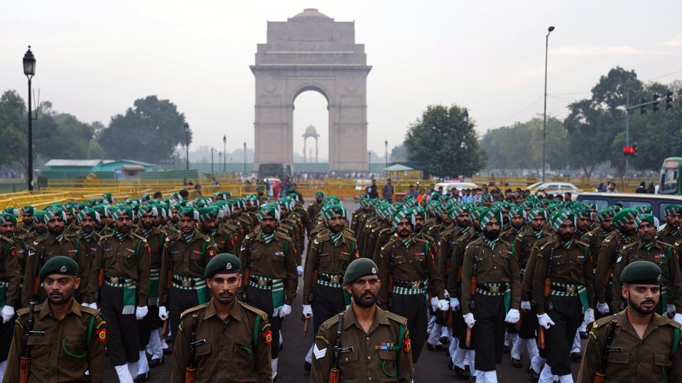 Territorial Army rehearses for Republic Day parade early morning at India Gate in New Delhi, India. (Gokul V.S / HT Photo)
