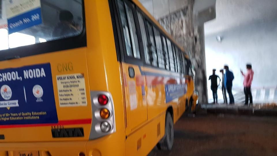 According to police, 30 children along with bus driver and conductor were travelling in the bus at the time of accident.