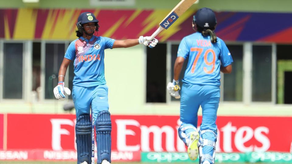 Harmanpreet Kaur (L)in action during the ICCWomen's World T20.