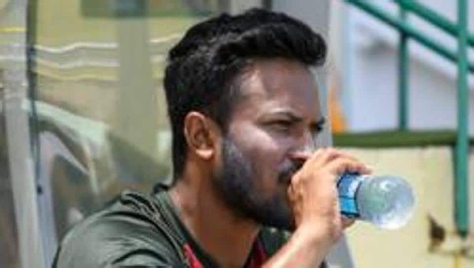 File image of Bangladesh cricketer Shakib Al Hasan in action during a training session.