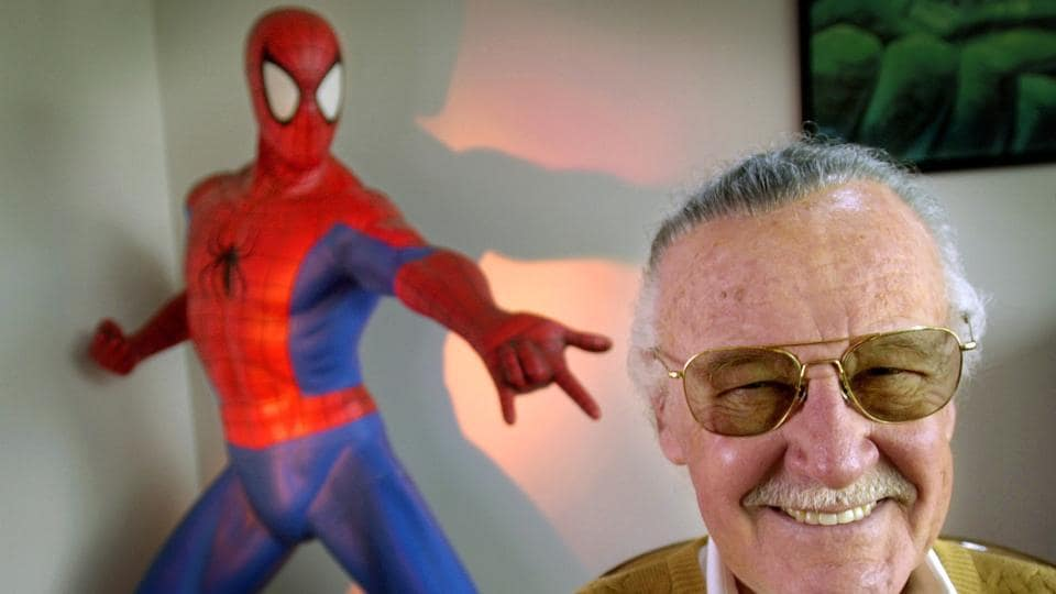 In this April 16, 2002, file photo, Stan Lee, creator of comic-book franchises such as Spider-Man, The Incredible Hulk and X-Men, smiles during a photo session in his office in Santa Monica.
