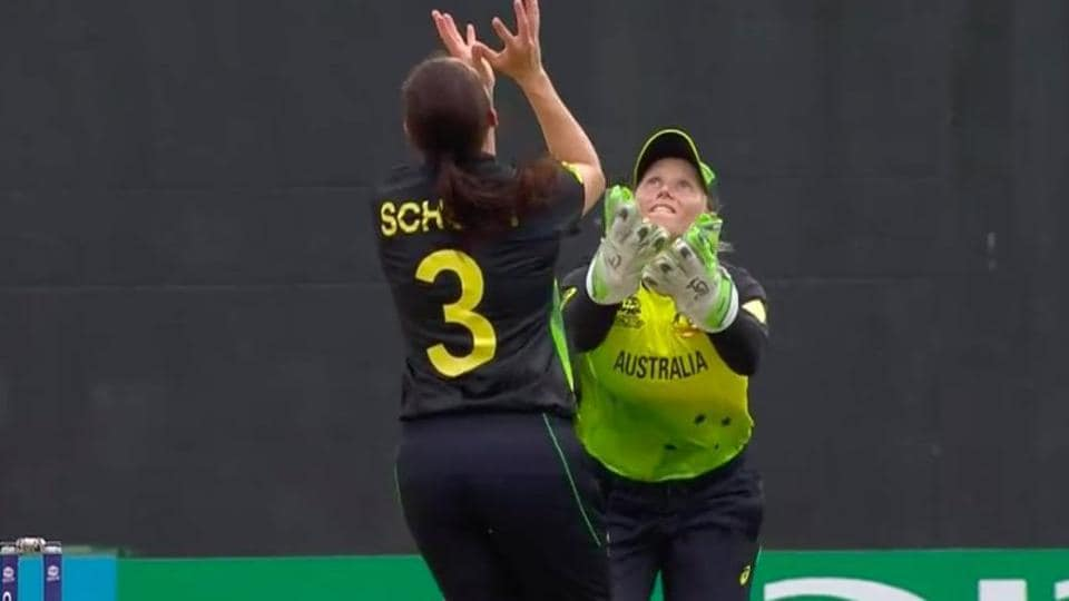Alyssa Healy and Megan Schutt were involved in a nasty collision.  (ICC)