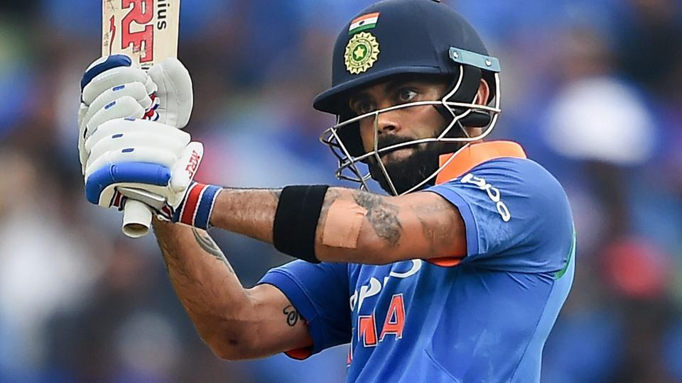 Virat Kohli plays a shot during the 5th and final ODI cricket match against West Indies at Greenfield International Stadium.