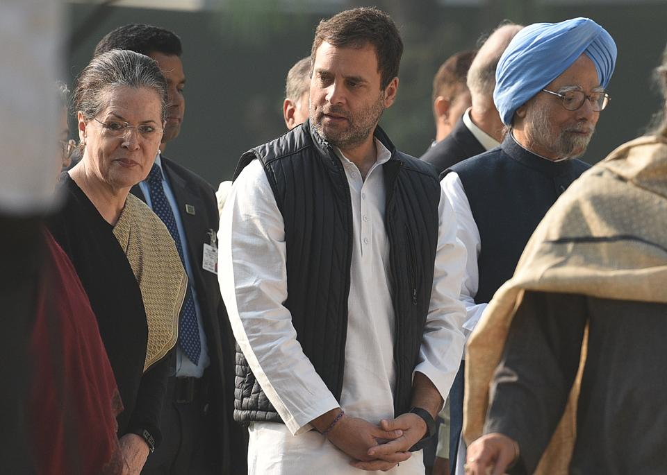 Congress president Rahul Gandhi, UPA chairperson Sonia Gandhi and former Prime Minister Manmohan Singh during a commemorative programme on the occasion of 101st birth anniversary of Indira Gandhi, at Indira Gandhi Memorial Trust (IGMT) in New Delhi. (Raj K Raj / HT Photo)