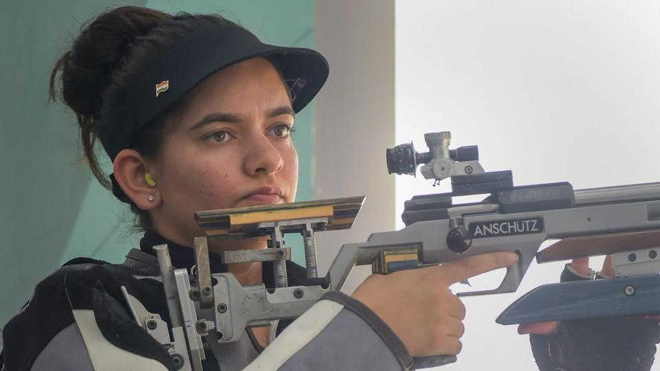 Shooter Anjum Moudgil (L) competes in the Women's 50m rifle 3 positions (3x40) event during the 18th Asian Games 2018 at Palembang in Indonesia on Wednesday, Aug 22, 2018.