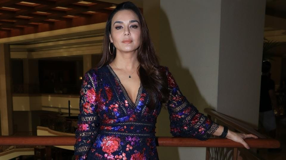 Preity Zinta during a media interaction to promote her upcoming film Bhaiyyaji Superhit in Mumbai.