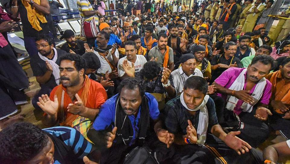 "On Monday, Kerala high court questioned the state government's action against devotees at the Sabarimala temple in the state's Pathanamthitta district, asking its top law officer to appear before it. ""How can the police do such high-handedness in the name of the Supreme Court verdict?"" the court asked while hearing a plea questioning last month's baton charge by the police and its subsequent action on devotees.  (PTI)"