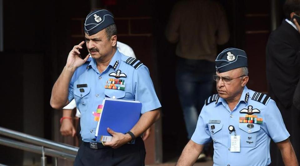 Deputy Chief of Air Staff Air Marshal V R Chaudhari and Air Marshal Anil Khosla leave the Supreme Court after a hearing on Rafale Deal, in New Delhi, November 14