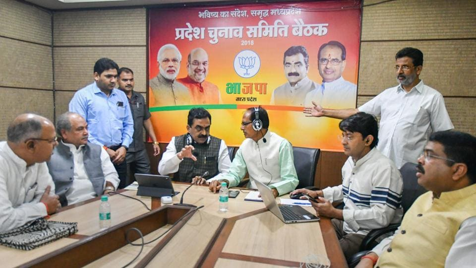 Madhya Pradesh chief minister Shivraj Singh Chouhan during a meeting with his party candidates via audio conferencing at party headquarters, in Bhopal on November 10.