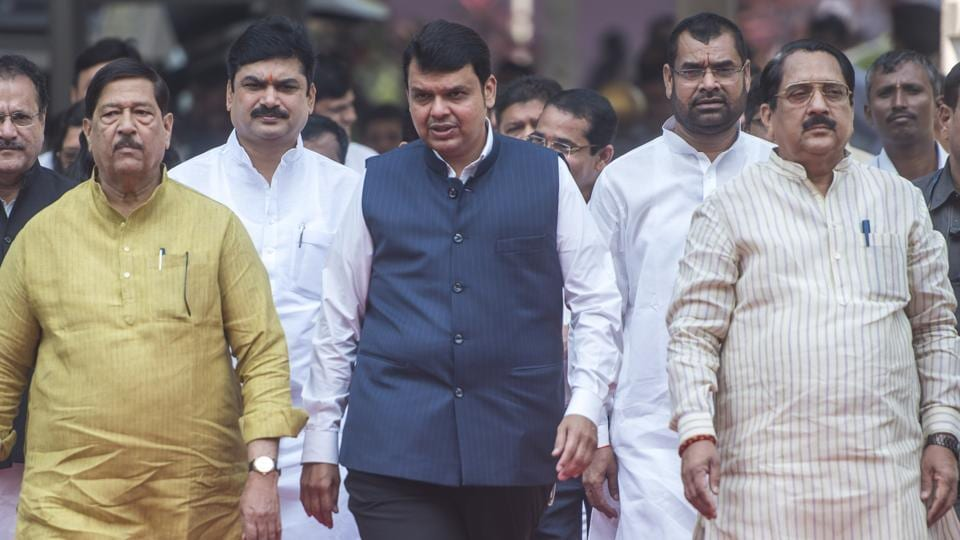 Maharashtra chief minister Devendra Fadnavis at the Vidhan Bhavan on the first day of the state's winter session on Monday.