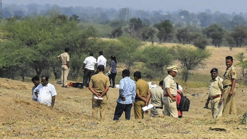 Police officials investigate the spot after a blast took place in field range at Central Ammunition Depot (CAD) at Pulgaon in Wardha, Maharashtra, Tuesday, Nov 20, 2018.
