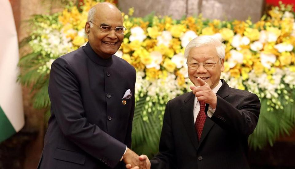 India and Vietnam agreed to further strengthen bilateral strategic cooperation in defence and oil and gas sectors as President Ram Nath Kovind held extensive talks with his counterpart Nguyen Phu Trong on Tuesday. Kovind, on a three-day visit, received a military guard of honour at the Vietnamese Presidential Palace before the talks. (Luong Thai Linh / REUTERS)