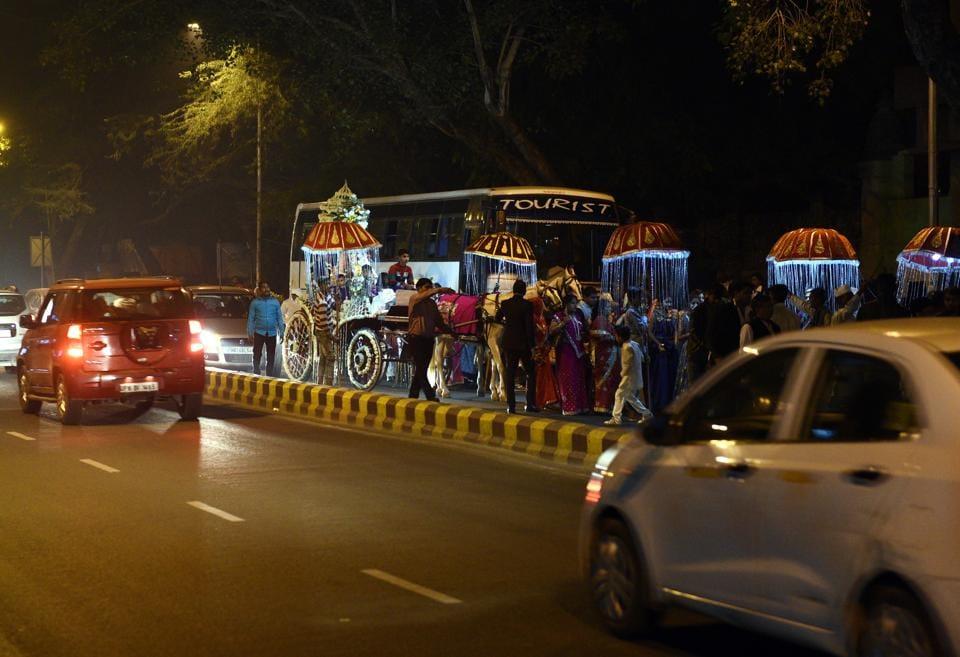 New Delhi, India - Nov. 19, 2018: A wedding procession is on move near Gole Market in New Delhi, India, on Monday, November 19, 2018. (Photo by Vipin Kumar / Hindustan Times)