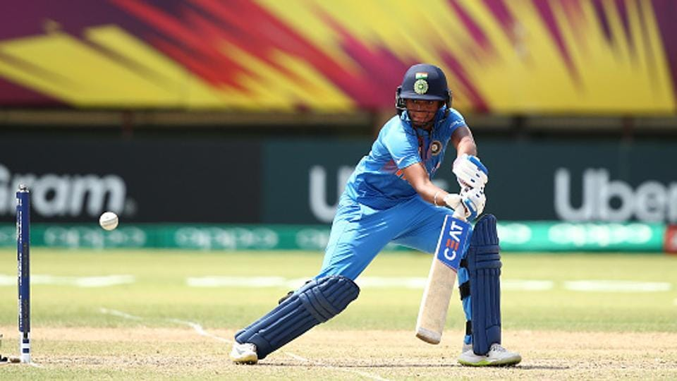 Harmanpreet Kaur of India bats during the ICC Women's World T20 2018 match between New Zealand and India at Guyana National Stadium on November 9, 2018 in Providence, Guyana)