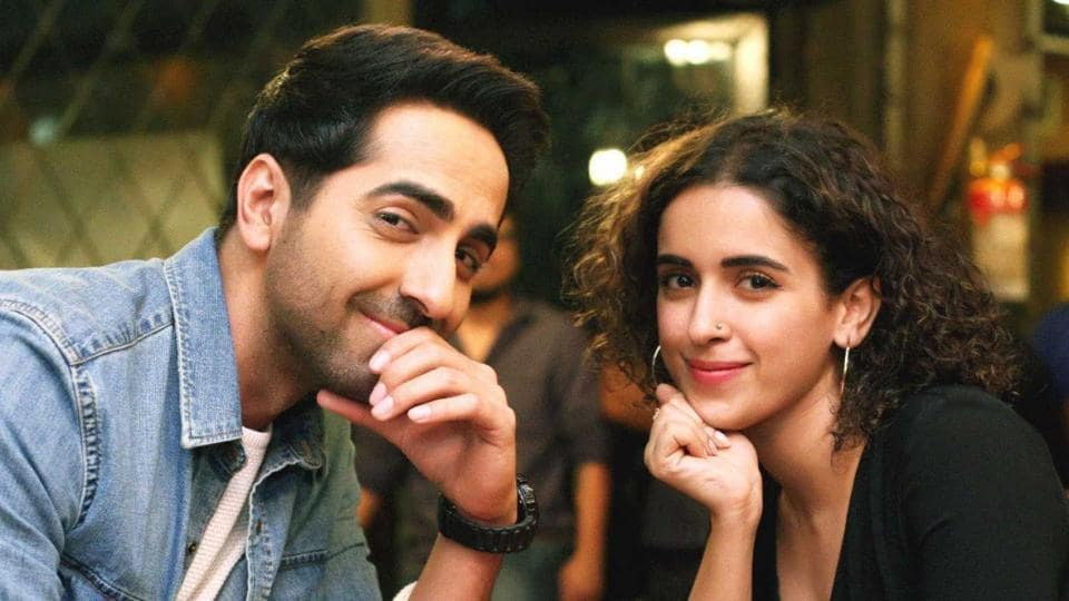 Ayushmann Khurrana and co-star Sanya Malhotra in Badhaai Ho. The film was positively received by critics and audiences