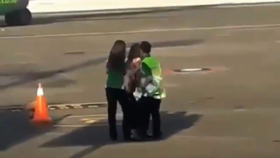 Viral: Woman's desperate chase after missing flight caught on camera | it s viral