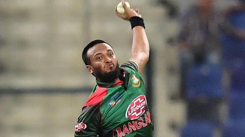 Bangladesh player Shakib Al Hasan bowls during the one day international (ODI) Asia Cup cricket match against Afghanistan.