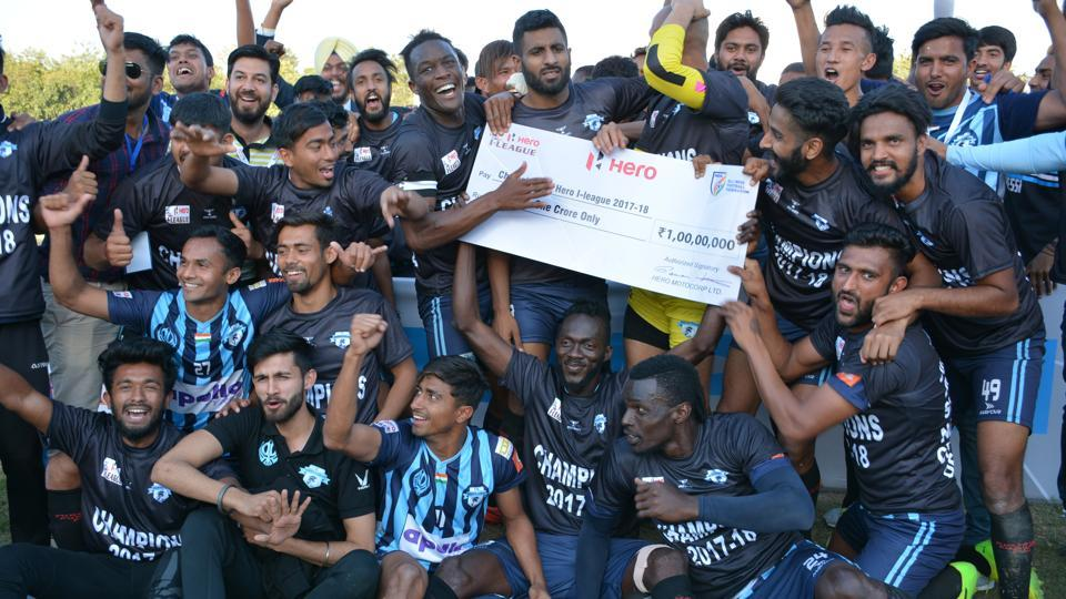 File image of players of Minerva Punjab celebrating after lifting the I-League 2017-18 title.