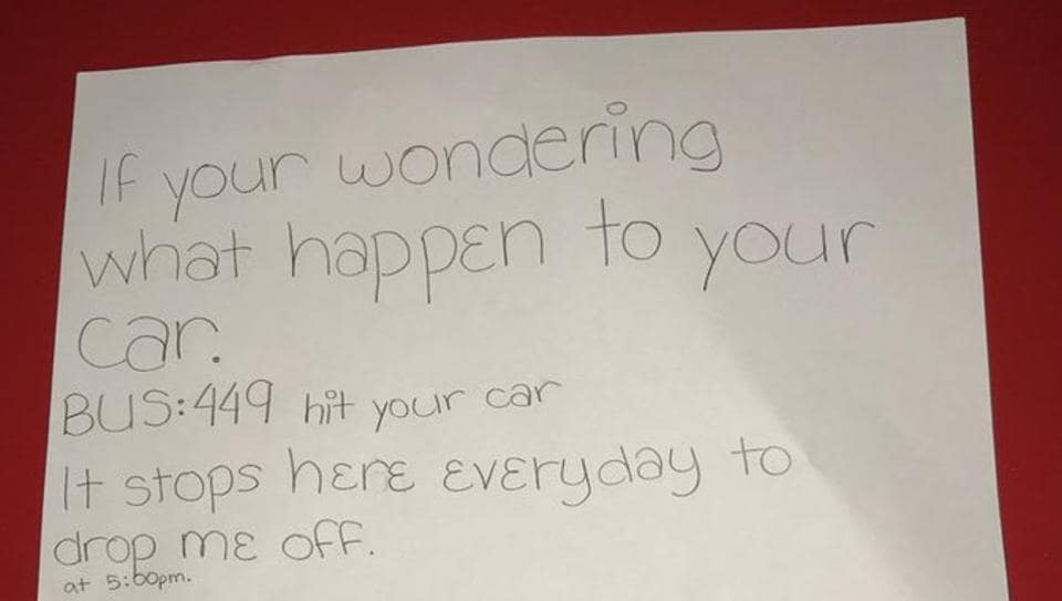 Sixth grader's adorable note to stranger about a school bus hitting his car wins Twitter | it s viral