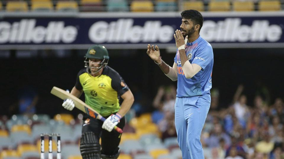 India's Jasprit Bumrah follows the ball during the first T20 International cricket match between Australia and India in Brisbane. (AP)