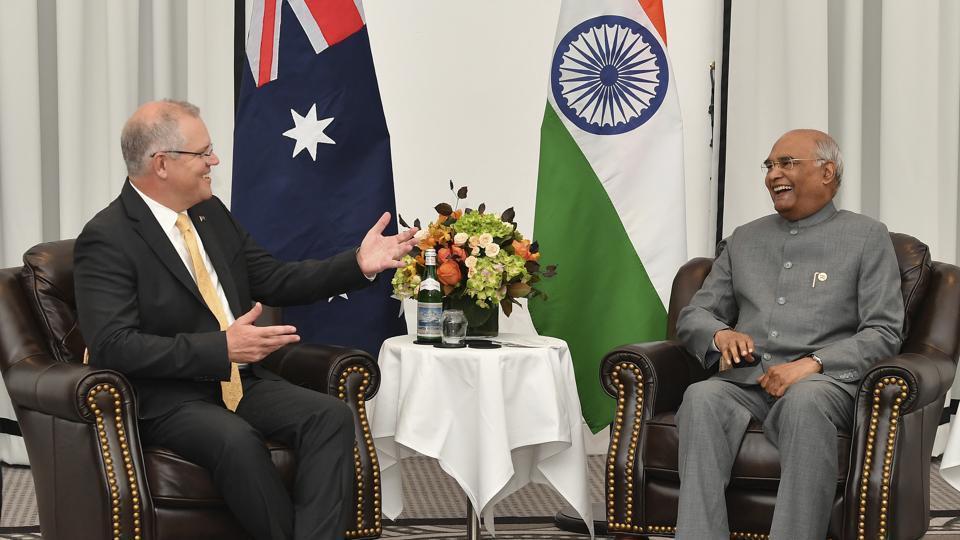 Australia's Prime Minister Scott Morrison(left) laughs with India's President Ram Nath Kovind(Right) during the bilateral talks in Sydney.
