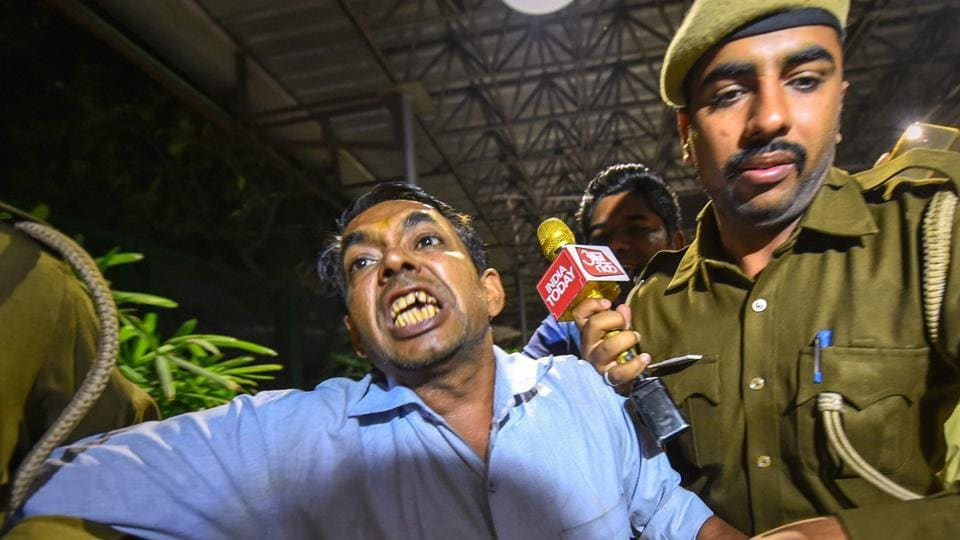 Police arrested Anil Kumar, who allegedly threw chilli powder at Delhi Chief Minister Arvind Kejriwal, at Delhi Secretariat in New Delhi, Tuesday, Nov. 20, 2018.