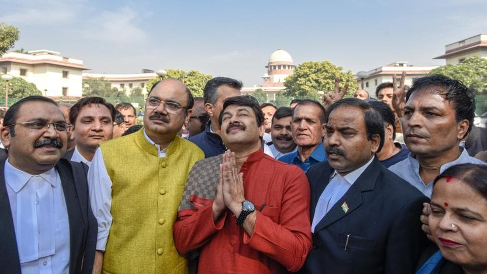 Delhi BJP chief Manoj Tiwari has been sharply rebuked by the Supreme Court for his much-publicised action of breaking into a house sealed by a court-mandated team in September. The court, however, did not order any action against him. Instead, the judges said it is up to the BJP to take action against him. (Burhaan Kinu/HT PHOTO)
