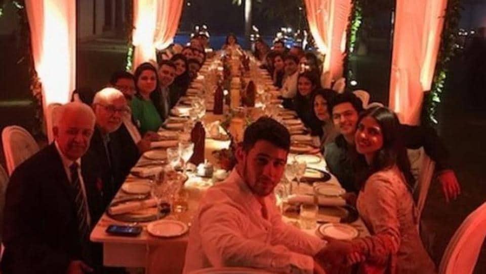 Priyanka Chopra and Nick Jonas at a Thanksgiving Dinner inDelhi. Theyr wedding festivities begin from November 29.