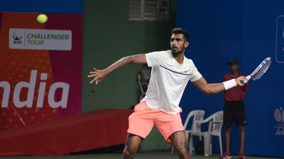 Fourth-seeded Prajnesh Gunneswaran from India in action during KPIT MSLTA ATP Challenger Tour at Shree Shiv Chhatrapati sports complex, Balewadi, on Thursday.