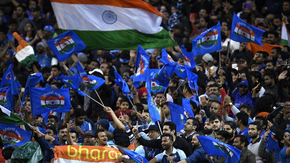 Indian fans cheer during the Twenty20 international cricket match between India and Australia. (AP)