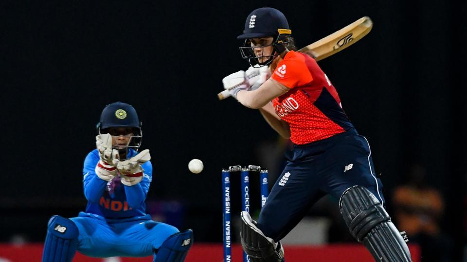 "England marched into the final of the Women's World T20 with a commanding 8-wicket victory over India in the second semi-final at the Sir Vivian Richards Stadium in Antigua on Thursday. After limiting the previously unbeaten Indians to 112 all out off 19.3 overs, the English made light work of a potentially tricky target with an unbroken third-wicket partnership of 94 between ""Player of the Match"" Amy Jones and all-rounder Natalie Sciver. (Randy Brooks  / AFP)"