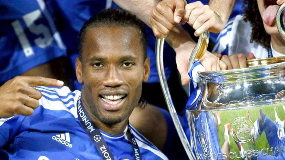 File photo of Chelsea's Didier Drogba celebrating with the trophy after their Champions League final against Bayern Munich at the Allianz Arena in Munich.