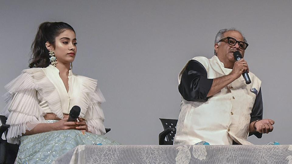 Boney Kapoor and actor Janhvi Kapoor during the 49th International Film Festival of India.