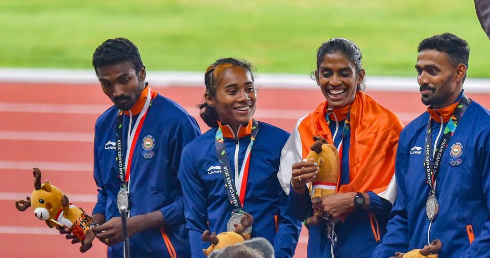 Silver medallist athletes Mohammad Anas Yahiya, Hima Das, MR Poovamma and Arokia Rajiv at the Asian Games in August. Never before have we fired across sports at the same time.
