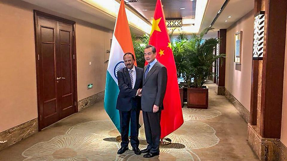 National security advisor, Ajit Doval shakes hands with Chinese foreign minister, Wang Yi ahead of the 21st round India-China Border talks at Dujiangyan city, in Sichuan province of China, Saturday, November 24, 2018.