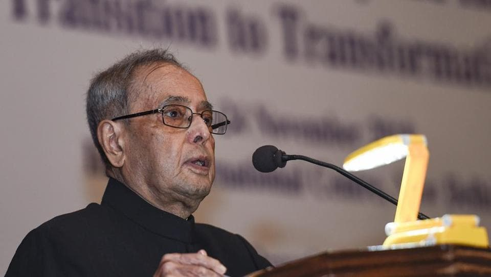 Former President Pranab Mukherjee addressed the National Conference on 'Towards Peace, Harmony and Happiness: Transition to Transformation', in New Delhi on Friday, November 23, 2018.