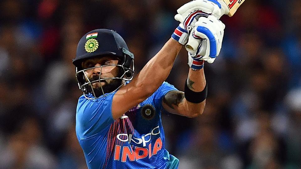 Virat Kohli plays a shot during a T20 international cricket match against Australia at the SCG in Sydney.