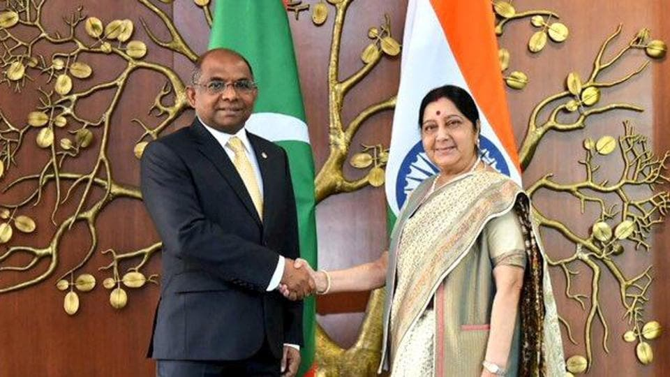 India's external affairs minister Sushma Swaraj meets Maldives foreign minister Abdulla Shahid on November 26.
