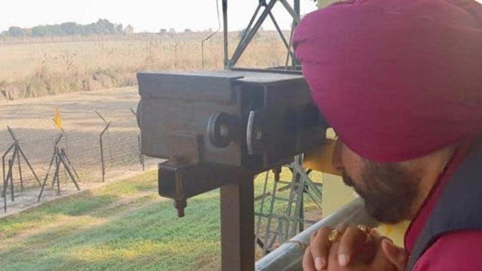 Punjab cabinet minister Navjot Singh Sidhu on Monday morning paid obeisance to Gurdwara Kartarpur Sahib in Pakistan from the Indian side of the international border.