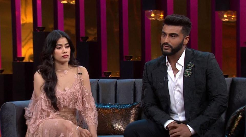 Janhvi Kapoor and Arjun Kapoor on the sixth episode of Koffee With Karan Season 6.